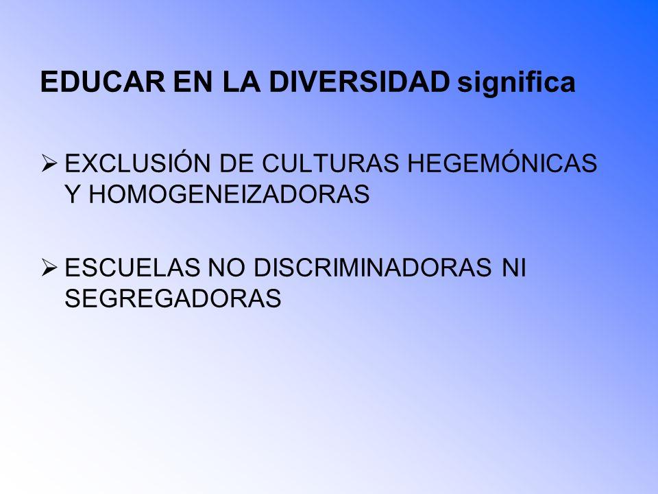 EDUCAR EN LA DIVERSIDAD significa EXCLUSIÓN DE CULTURAS HEGEMÓNICAS Y HOMOGENEIZADORAS ESCUELAS NO DISCRIMINADORAS NI SEGREGADORAS