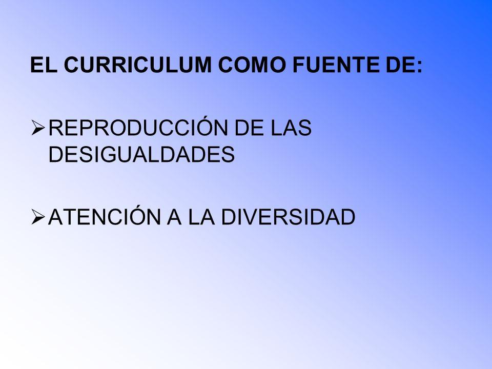EL CURRICULUM COMO FUENTE DE: REPRODUCCIÓN DE LAS DESIGUALDADES ATENCIÓN A LA DIVERSIDAD