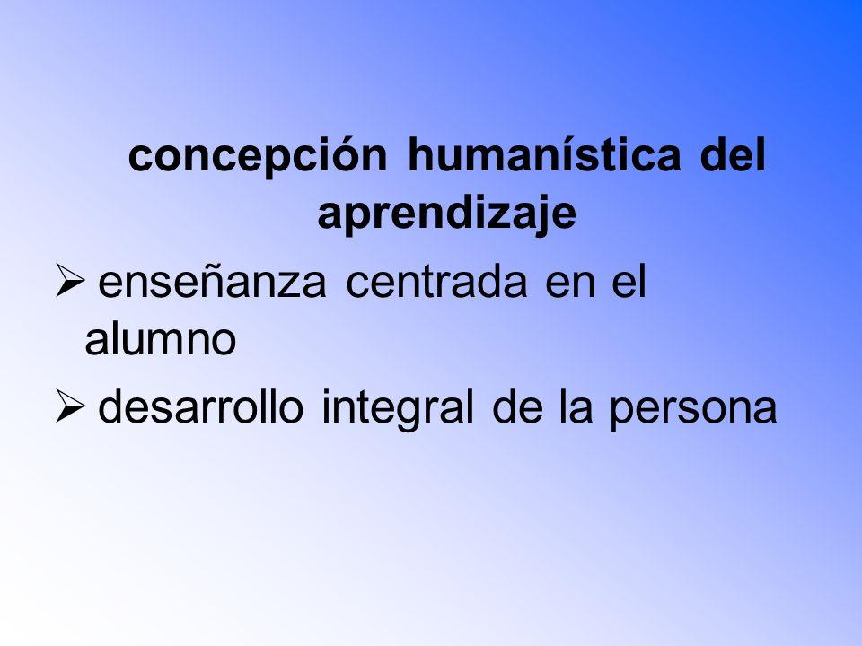 concepción humanística del aprendizaje enseñanza centrada en el alumno desarrollo integral de la persona