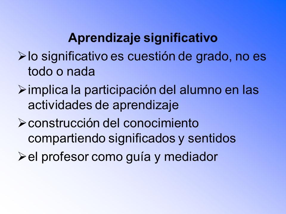 Aprendizaje significativo lo significativo es cuestión de grado, no es todo o nada implica la participación del alumno en las actividades de aprendiza
