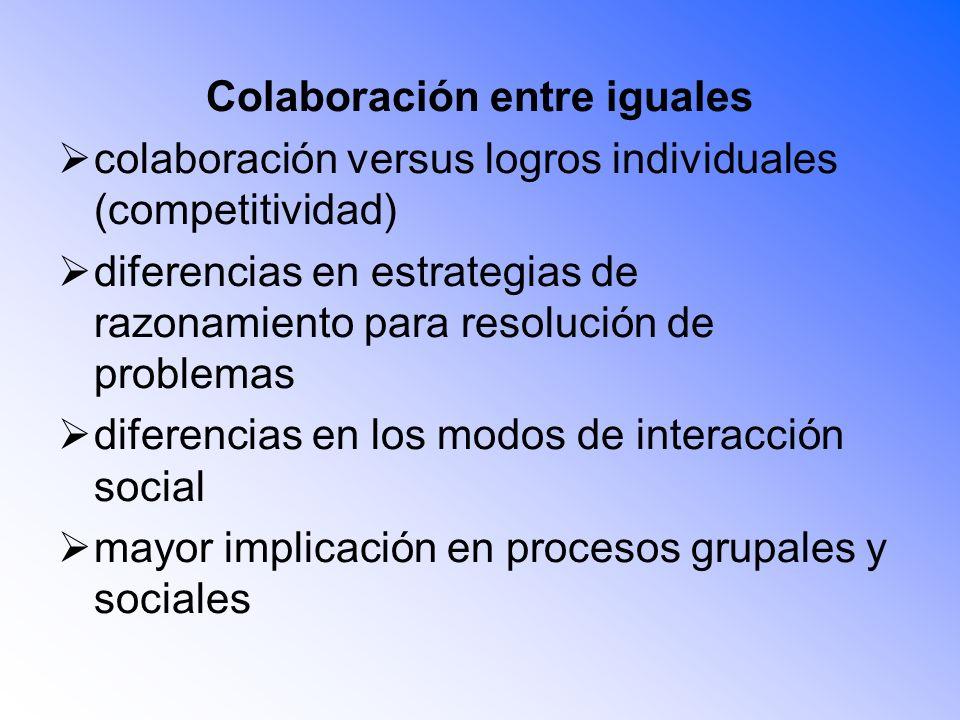 Colaboración entre iguales colaboración versus logros individuales (competitividad) diferencias en estrategias de razonamiento para resolución de prob