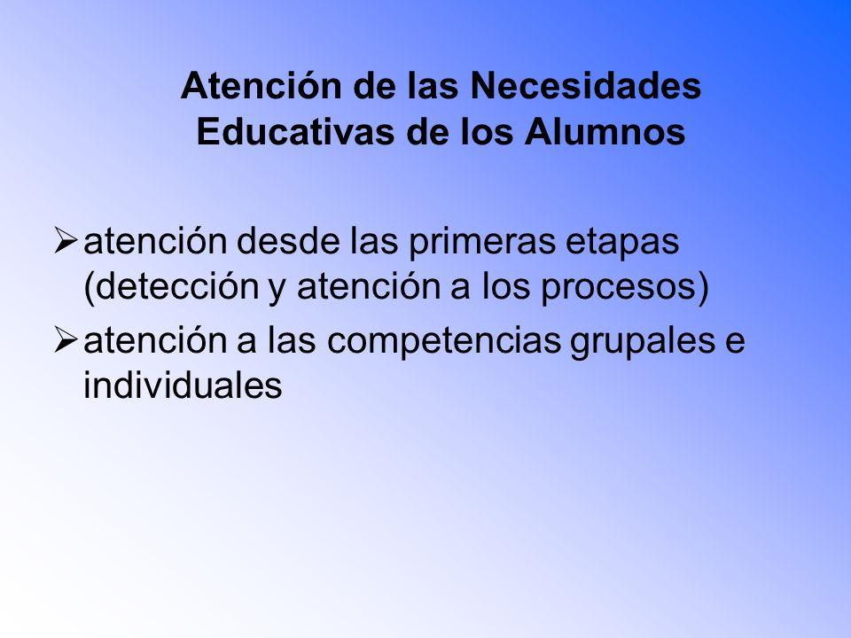 Atención de las Necesidades Educativas de los Alumnos atención desde las primeras etapas (detección y atención a los procesos) atención a las competen