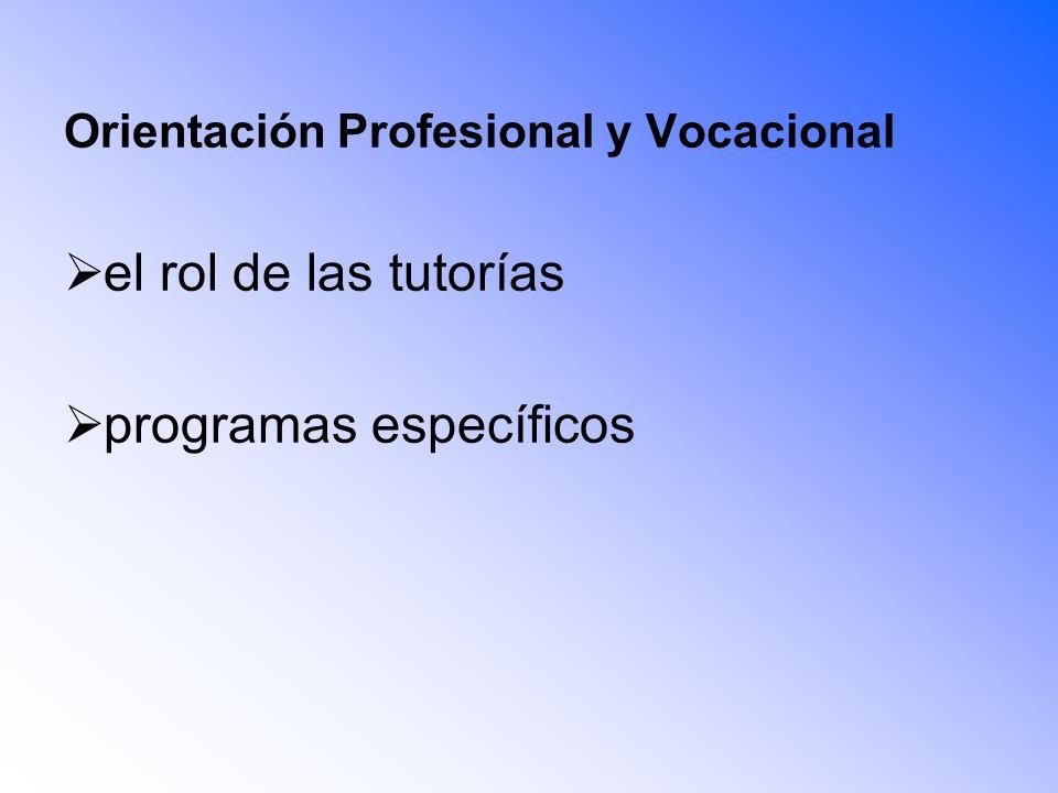 Orientación Profesional y Vocacional el rol de las tutorías programas específicos