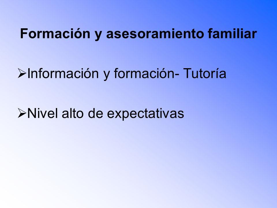 Formación y asesoramiento familiar Información y formación- Tutoría Nivel alto de expectativas