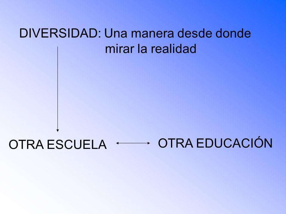 DIVERSIDAD: Una manera desde donde mirar la realidad OTRA ESCUELA OTRA EDUCACIÓN