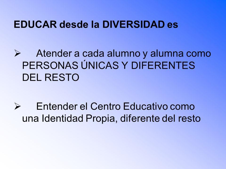 EDUCAR desde la DIVERSIDAD es Atender a cada alumno y alumna como PERSONAS ÚNICAS Y DIFERENTES DEL RESTO Entender el Centro Educativo como una Identid