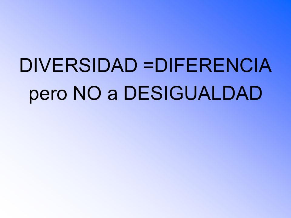 DIVERSIDAD =DIFERENCIA pero NO a DESIGUALDAD