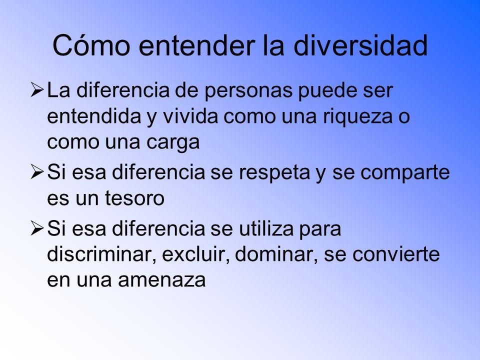 Cómo entender la diversidad La diferencia de personas puede ser entendida y vivida como una riqueza o como una carga Si esa diferencia se respeta y se