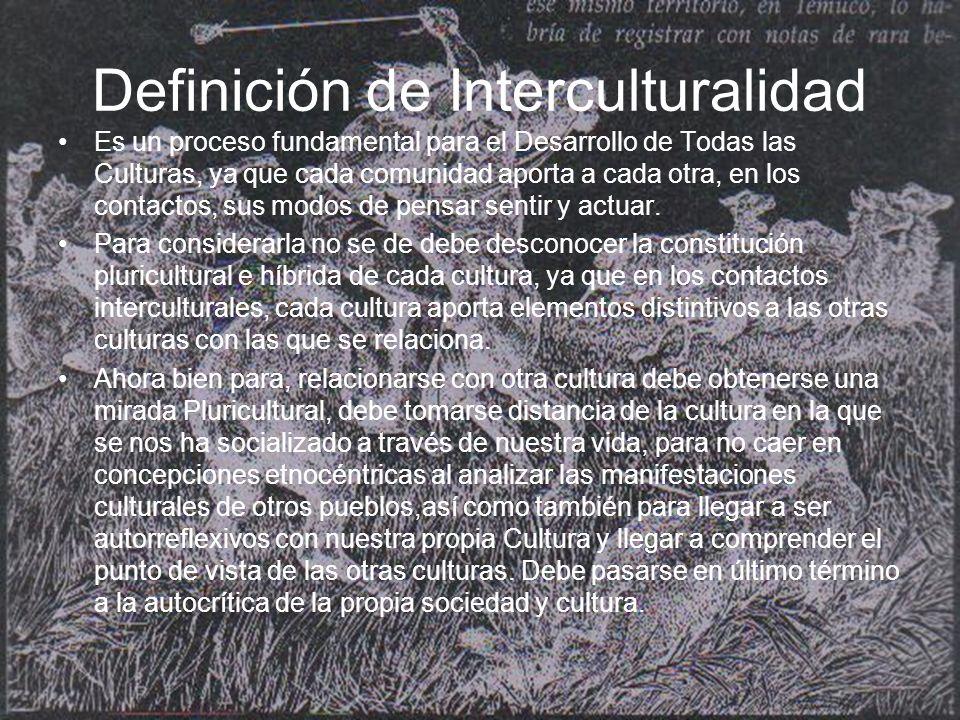 Definición de Interculturalidad Es un proceso fundamental para el Desarrollo de Todas las Culturas, ya que cada comunidad aporta a cada otra, en los contactos, sus modos de pensar sentir y actuar.