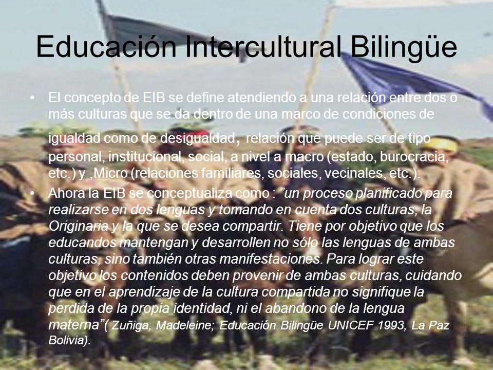 Educación Intercultural Bilingüe El concepto de EIB se define atendiendo a una relación entre dos o más culturas que se da dentro de una marco de condiciones de igualdad como de desigualdad, relación que puede ser de tipo personal, institucional, social, a nivel a macro (estado, burocracia, etc.) y,Micro (relaciones familiares, sociales, vecinales, etc.).