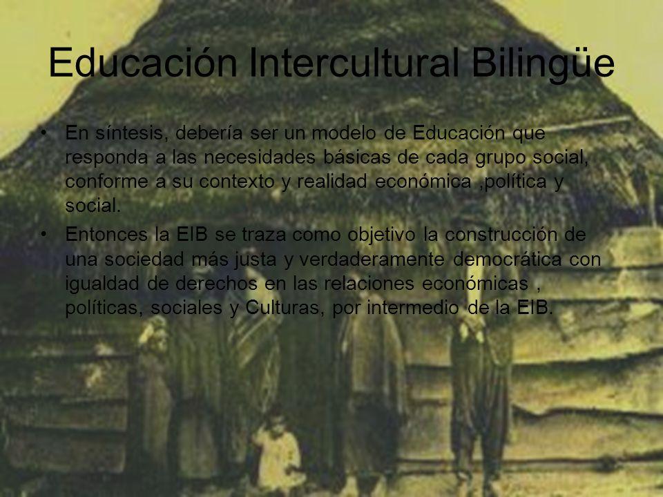 Educación Intercultural Bilingüe En síntesis, debería ser un modelo de Educación que responda a las necesidades básicas de cada grupo social, conforme a su contexto y realidad económica,política y social.