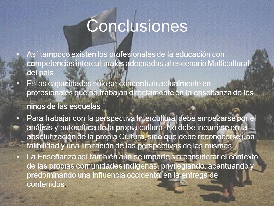 Conclusiones Así tampoco existen los profesionales de la educación con competencias interculturales adecuadas al escenario Multicultural del país. Est