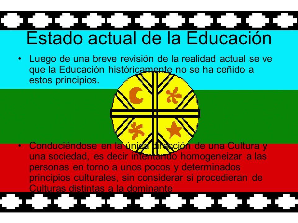 Estado actual de la Educación Luego de una breve revisión de la realidad actual se ve que la Educación históricamente no se ha ceñido a estos principios.