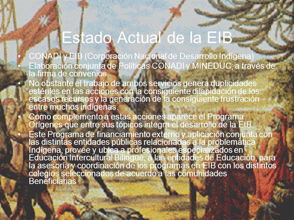 Estado Actual de la EIB CONADI y EIB (Corporación Nacional de Desarrollo Indígena) Elaboración conjunta de Políticas CONADI y MINEDUC; a través de la