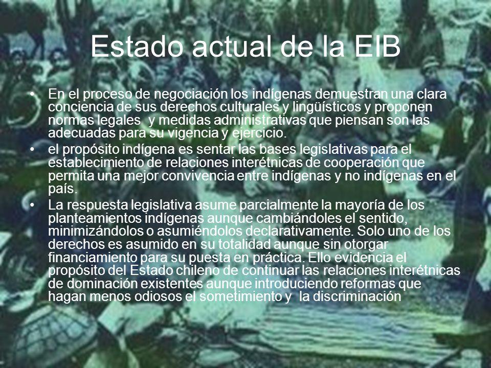 Estado actual de la EIB En el proceso de negociación los indígenas demuestran una clara conciencia de sus derechos culturales y lingüísticos y proponen normas legales y medidas administrativas que piensan son las adecuadas para su vigencia y ejercicio.