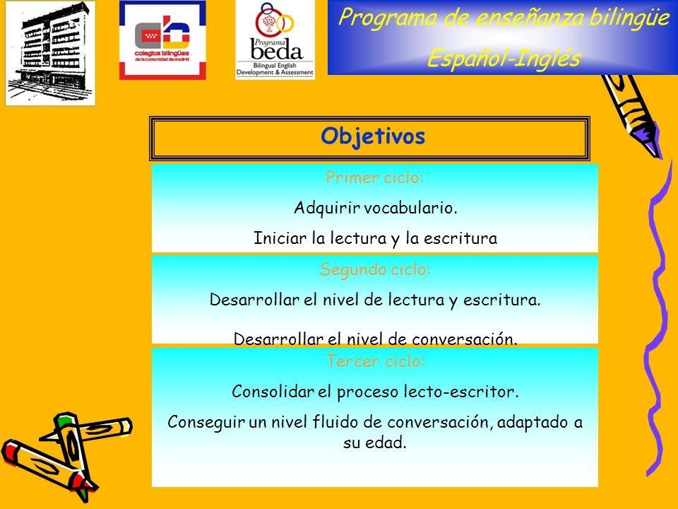 Programa de enseñanza bilingüe Español-Inglés Objetivos Primer ciclo: Adquirir vocabulario. Iniciar la lectura y la escritura Segundo ciclo: Desarroll