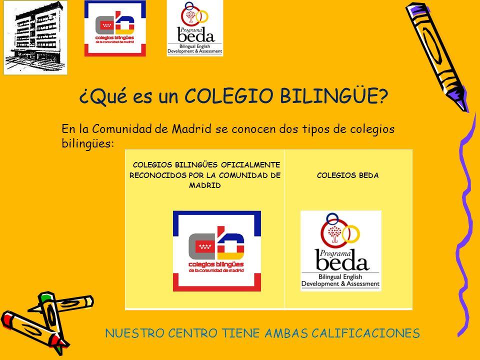 ¿Qué es un COLEGIO BILINGÜE? En la Comunidad de Madrid se conocen dos tipos de colegios bilingües: COLEGIOS BILINGÜES OFICIALMENTE RECONOCIDOS POR LA