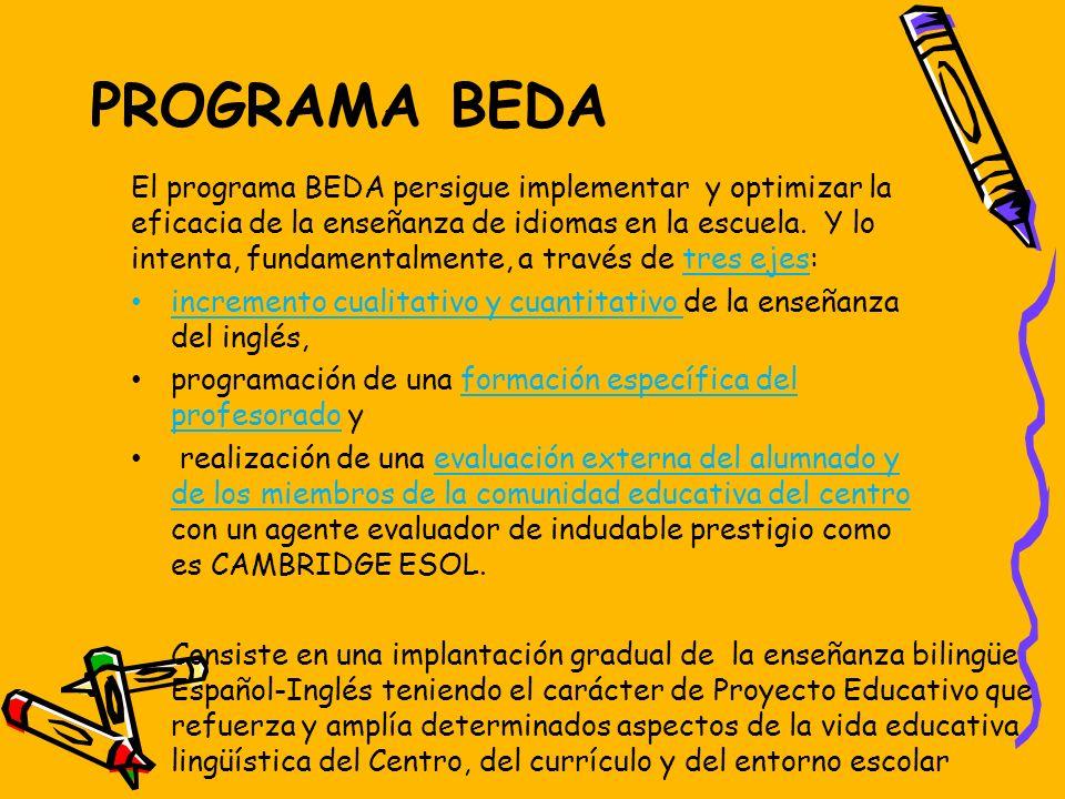 PROGRAMA BEDA Consiste en una implantación gradual de la enseñanza bilingüe Español-Inglés teniendo el carácter de Proyecto Educativo que refuerza y a
