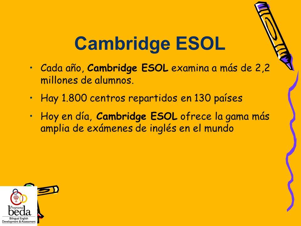 Cada año, Cambridge ESOL examina a más de 2,2 millones de alumnos. Hay 1.800 centros repartidos en 130 países Hoy en día, Cambridge ESOL ofrece la gam