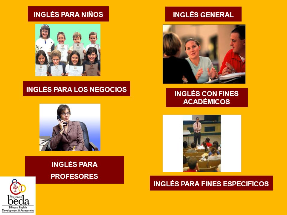 INGLÉS GENERAL INGLÉS CON FINES ACADÉMICOS INGLÉS PARA LOS NEGOCIOS INGLÉS PARA FINES ESPECIFICOS INGLÉS PARA PROFESORES INGLÉS PARA NIÑOS