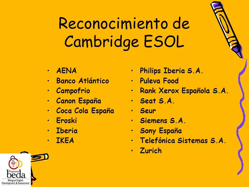 Reconocimiento de Cambridge ESOL AENA Banco Atlántico Campofrio Canon España Coca Cola España Eroski Iberia IKEA Philips Iberia S.A. Puleva Food Rank