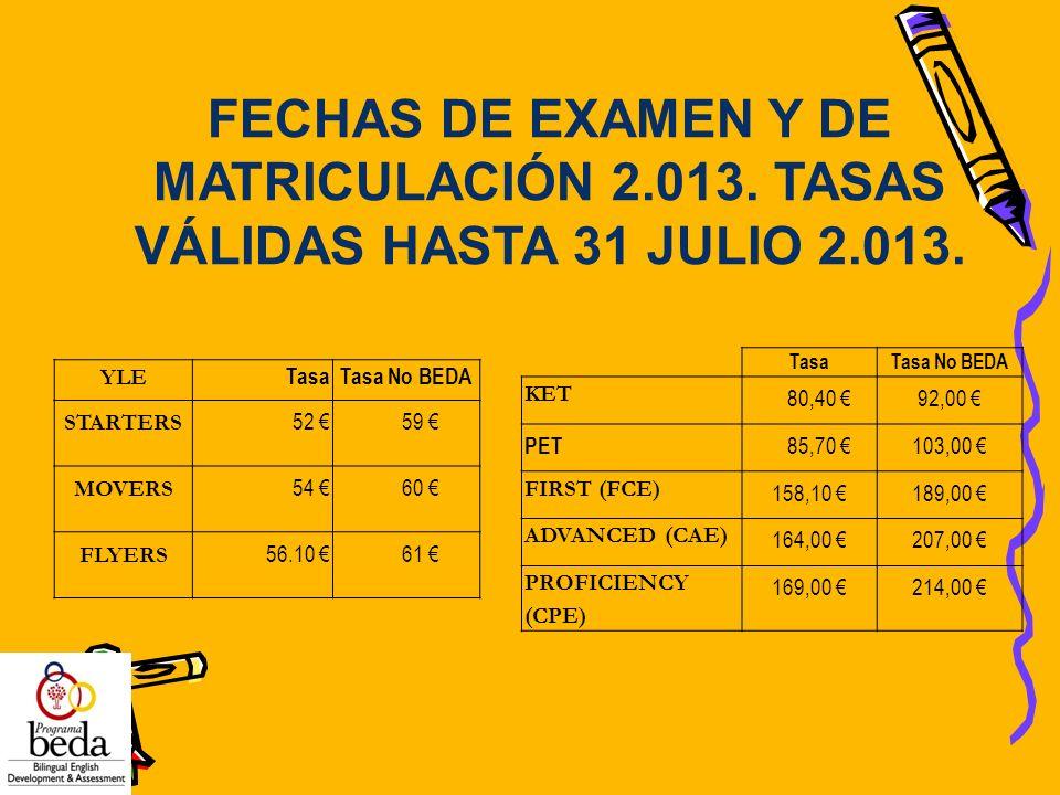 FECHAS DE EXAMEN Y DE MATRICULACIÓN 2.013. TASAS VÁLIDAS HASTA 31 JULIO 2.013. YLE TasaTasa No BEDA STARTERS 52 59 MOVERS 54 60 FLYERS 56.10 61 TasaTa