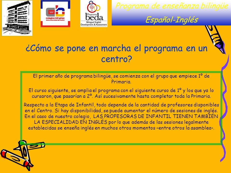 Programa de enseñanza bilingüe Español-Inglés ¿Cómo se pone en marcha el programa en un centro? El primer año de programa bilingüe, se comienza con el