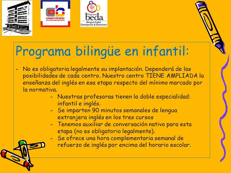 Programa bilingüe en infantil: -No es obligatoria legalmente su implantación. Dependerá de las posibilidades de cada centro. Nuestro centro TIENE AMPL
