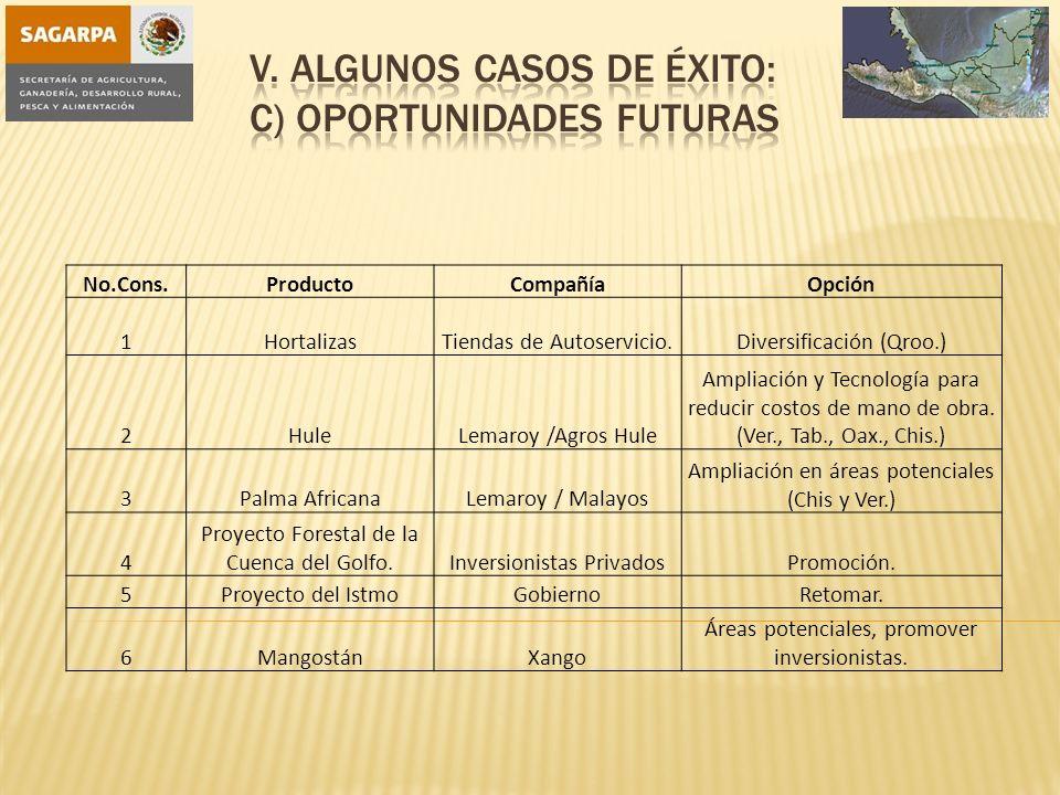 No.Cons.ProductoCompañíaOpción 1HortalizasTiendas de Autoservicio.Diversificación (Qroo.) 2HuleLemaroy /Agros Hule Ampliación y Tecnología para reduci
