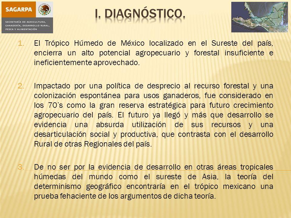 1.El Trópico Húmedo de México localizado en el Sureste del país, encierra un alto potencial agropecuario y forestal insuficiente e ineficientemente aprovechado.
