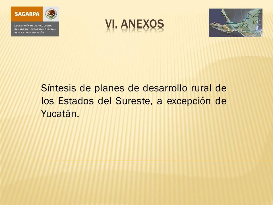 Síntesis de planes de desarrollo rural de los Estados del Sureste, a excepción de Yucatán.