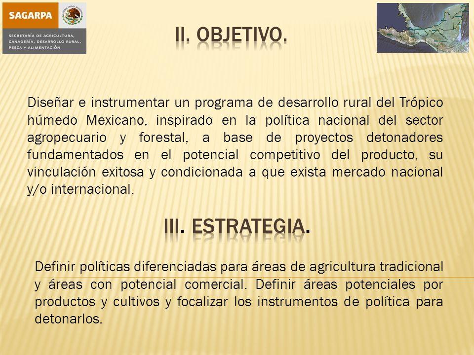 Diseñar e instrumentar un programa de desarrollo rural del Trópico húmedo Mexicano, inspirado en la política nacional del sector agropecuario y forestal, a base de proyectos detonadores fundamentados en el potencial competitivo del producto, su vinculación exitosa y condicionada a que exista mercado nacional y/o internacional.
