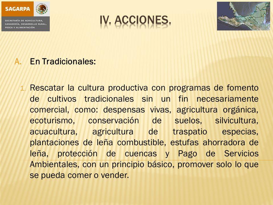 A.En Tradicionales: 1. Rescatar la cultura productiva con programas de fomento de cultivos tradicionales sin un fin necesariamente comercial, como: de