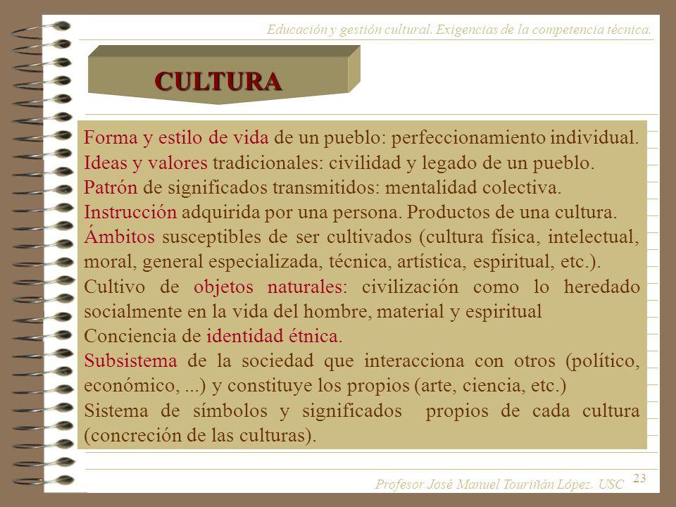23 Forma y estilo de vida de un pueblo: perfeccionamiento individual. Ideas y valores tradicionales: civilidad y legado de un pueblo. Patrón de signif