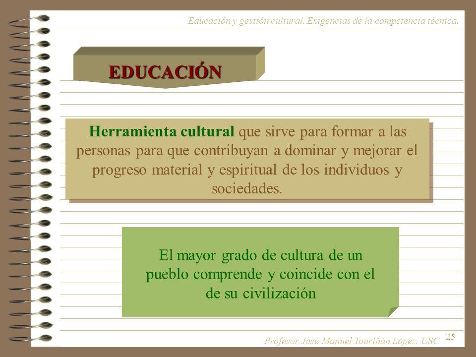 25 Herramienta cultural que sirve para formar a las personas para que contribuyan a dominar y mejorar el progreso material y espiritual de los individ