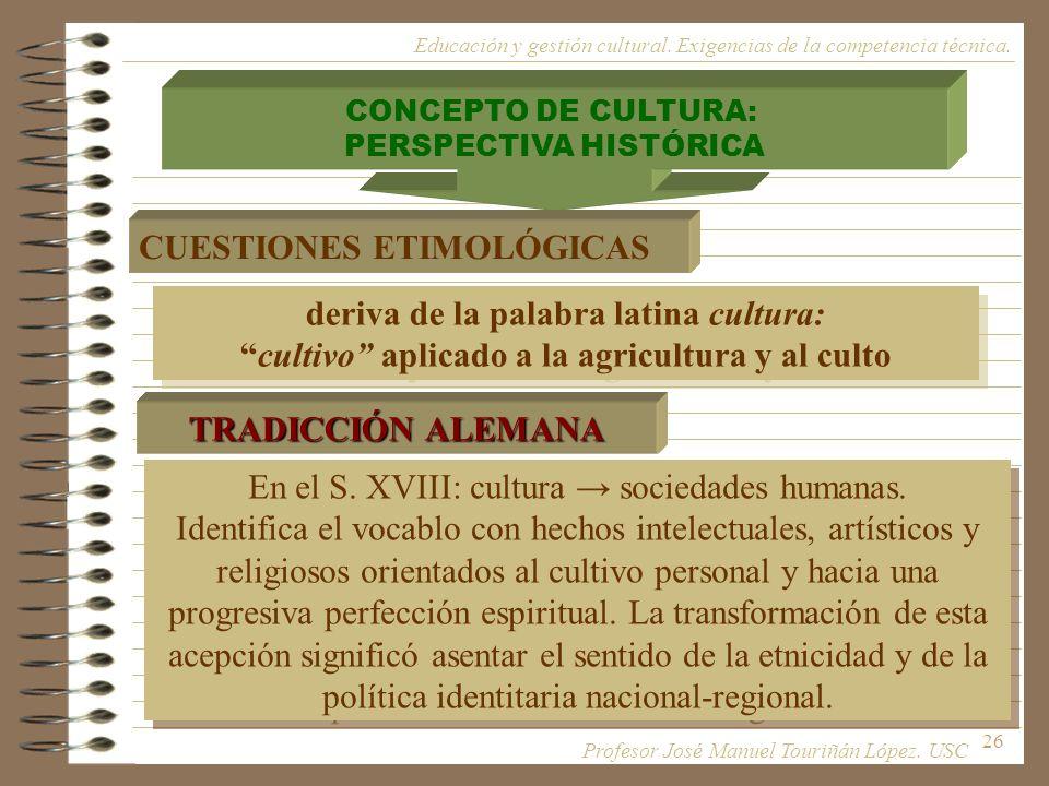 26 CONCEPTO DE CULTURA: PERSPECTIVA HISTÓRICA CUESTIONES ETIMOLÓGICAS deriva de la palabra latina cultura: cultivo aplicado a la agricultura y al cult