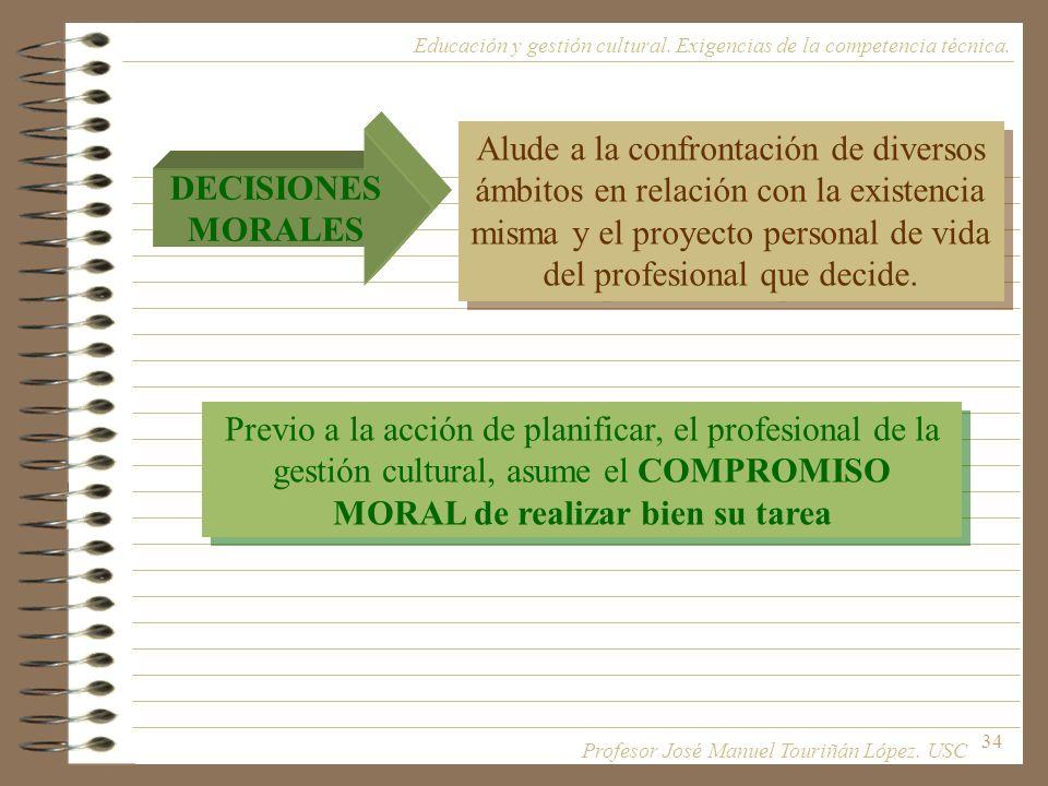 34 Previo a la acción de planificar, el profesional de la gestión cultural, asume el COMPROMISO MORAL de realizar bien su tarea Alude a la confrontaci