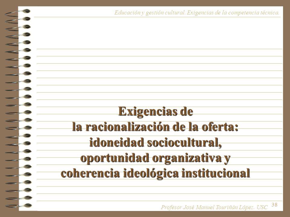 38 Exigencias de la racionalización de la oferta: idoneidad sociocultural, oportunidad organizativa y coherencia ideológica institucional Educación y