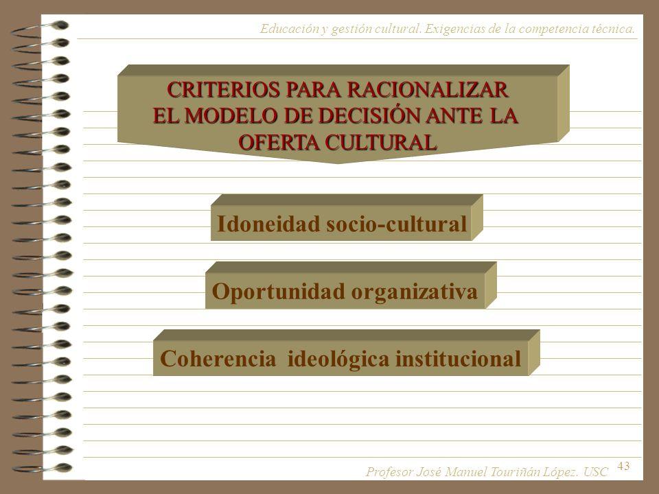 43 Educación y gestión cultural. Exigencias de la competencia técnica. CRITERIOS PARA RACIONALIZAR EL MODELO DE DECISIÓN ANTE LA OFERTA CULTURAL Idone