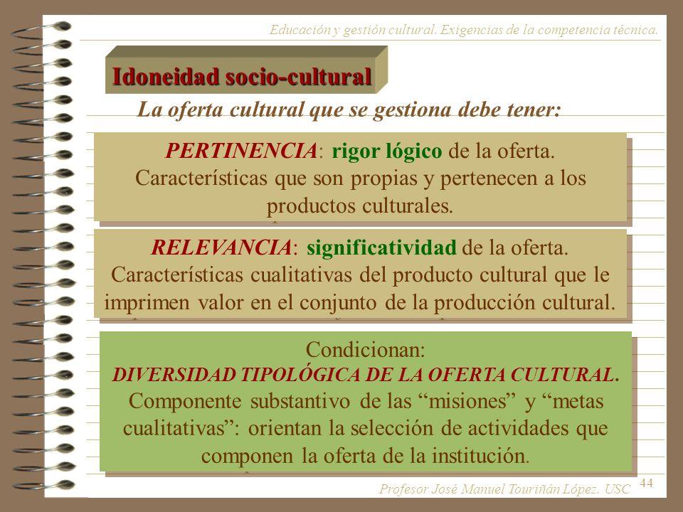 44 PERTINENCIA: rigor lógico de la oferta. Características que son propias y pertenecen a los productos culturales. Educación y gestión cultural. Exig