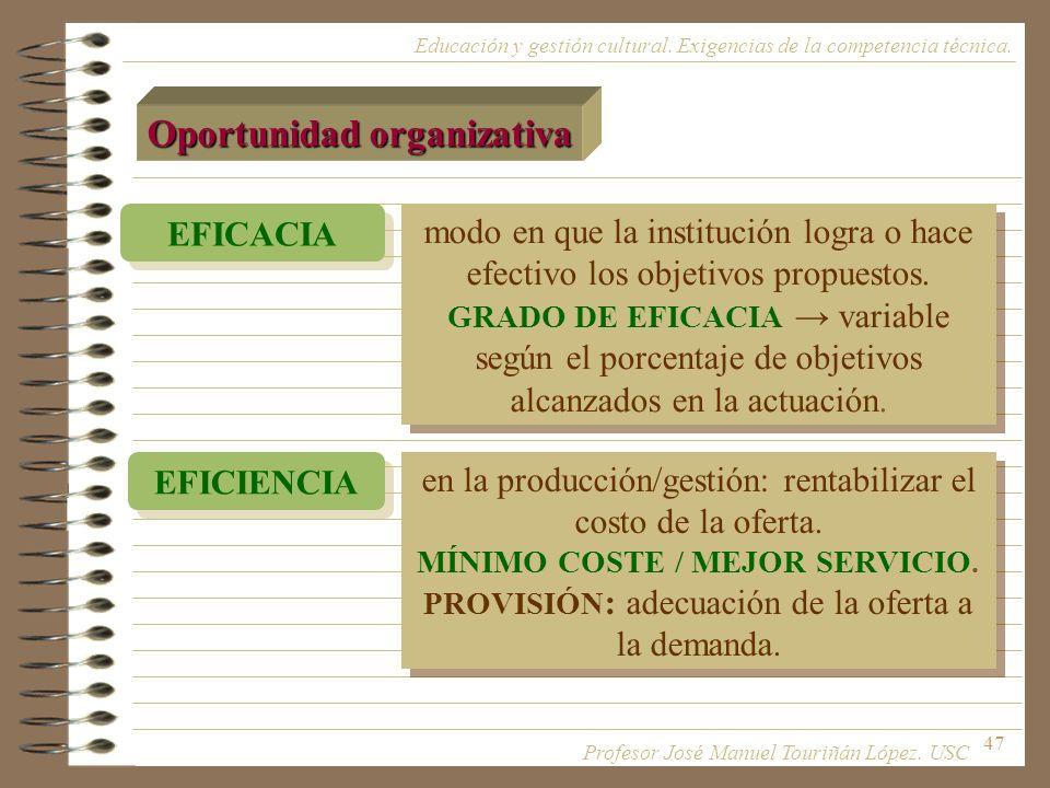 47 Educación y gestión cultural. Exigencias de la competencia técnica. Oportunidad organizativa modo en que la institución logra o hace efectivo los o