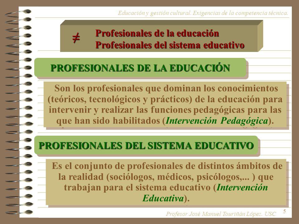 5 Son los profesionales que dominan los conocimientos (teóricos, tecnológicos y prácticos) de la educación para intervenir y realizar las funciones pe