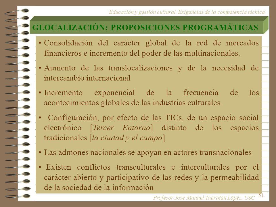 51 Consolidación del carácter global de la red de mercados financieros e incremento del poder de las multinacionales. Aumento de las translocalizacion