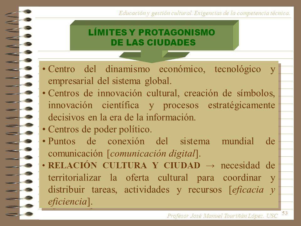 53 Centro del dinamismo económico, tecnológico y empresarial del sistema global. Centros de innovación cultural, creación de símbolos, innovación cien
