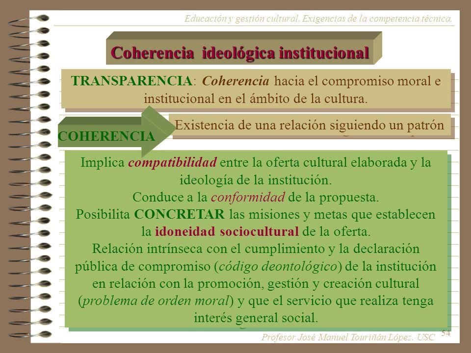 54 TRANSPARENCIA: Coherencia hacia el compromiso moral e institucional en el ámbito de la cultura. Coherencia ideológica institucional Educación y ges