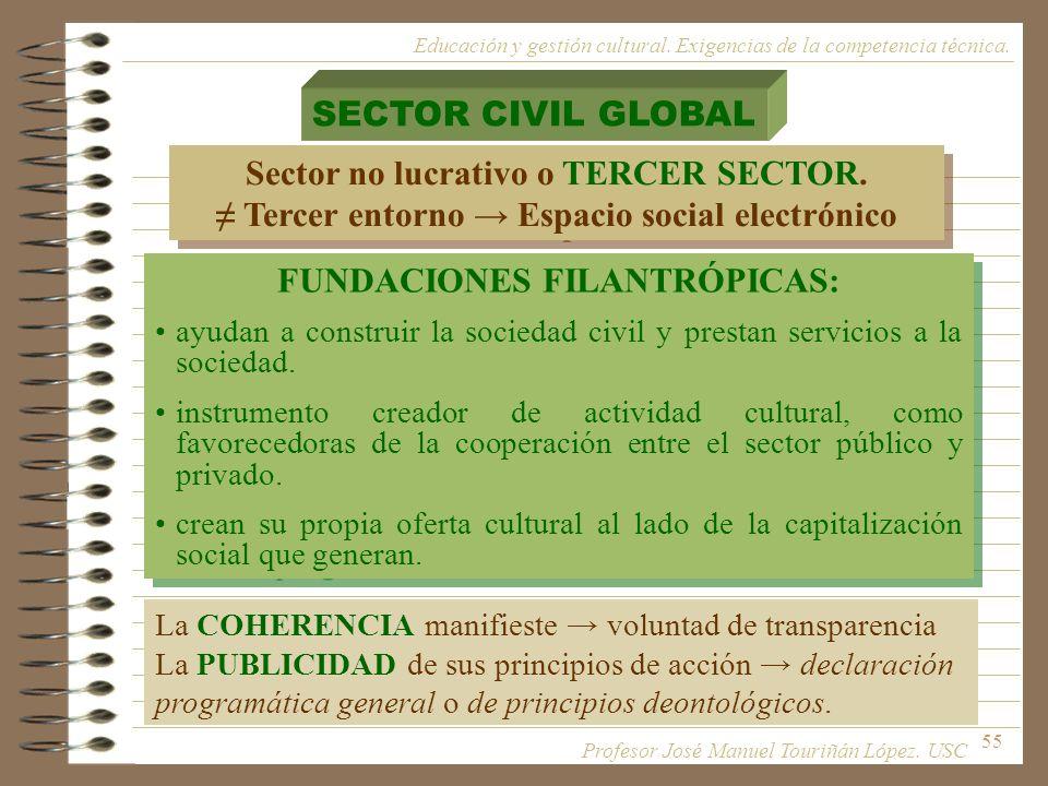 55 SECTOR CIVIL GLOBAL Sector no lucrativo o TERCER SECTOR. Tercer entorno Espacio social electrónico Sector no lucrativo o TERCER SECTOR. Tercer ento