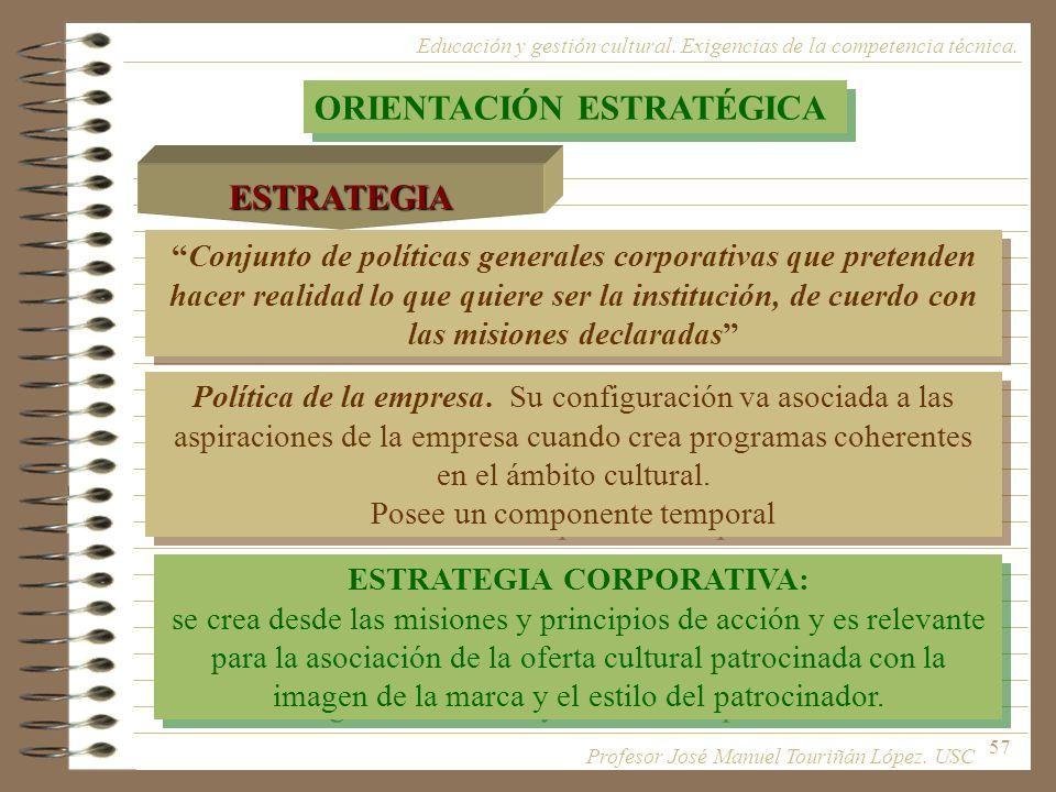 57 Política de la empresa. Su configuración va asociada a las aspiraciones de la empresa cuando crea programas coherentes en el ámbito cultural. Posee