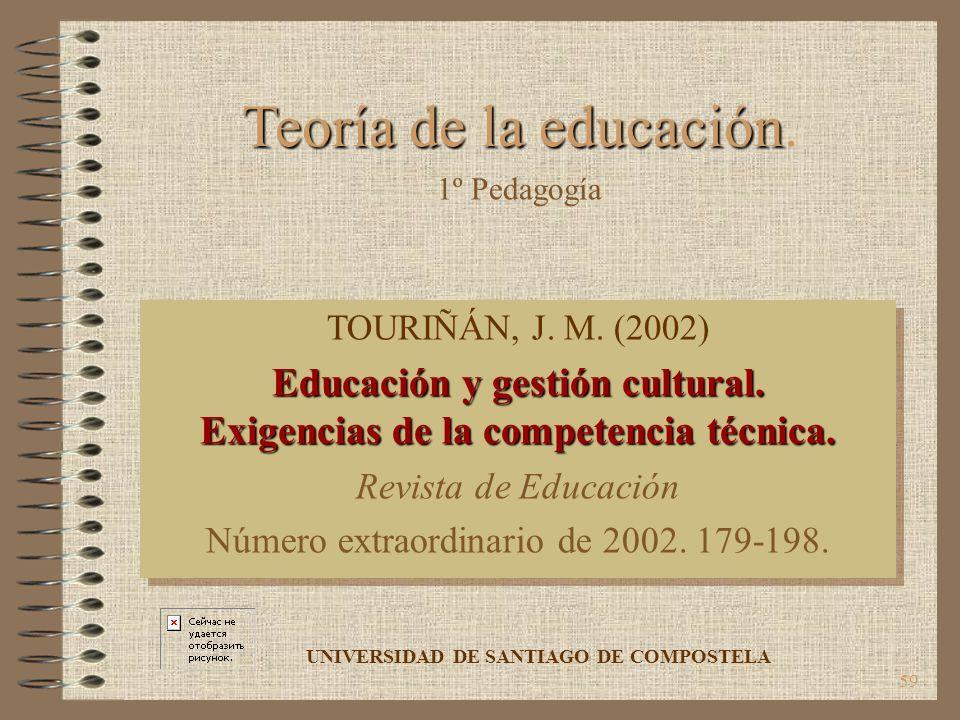59 TOURIÑÁN, J. M. (2002) Educación y gestión cultural. Exigencias de la competencia técnica. Revista de Educación Número extraordinario de 2002. 179-
