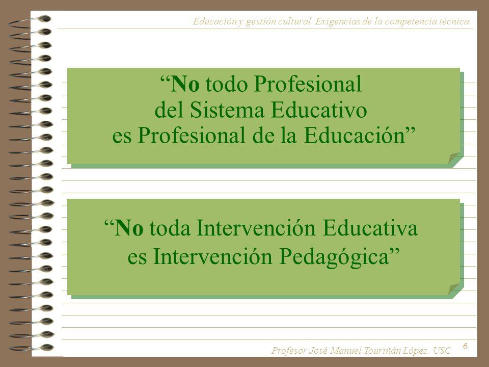 6 Educación y gestión cultural. Exigencias de la competencia técnica. No todo Profesional del Sistema Educativo es Profesional de la Educación No todo