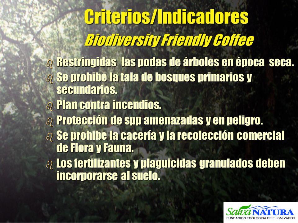 Criterios/Indicadores Biodiversity Friendly Coffee b Restringidas las podas de árboles en época seca. b Se prohibe la tala de bosques primarios y secu